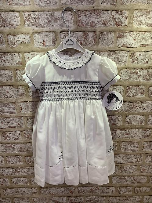 Sarah Louise White/Navy Smocked Dress