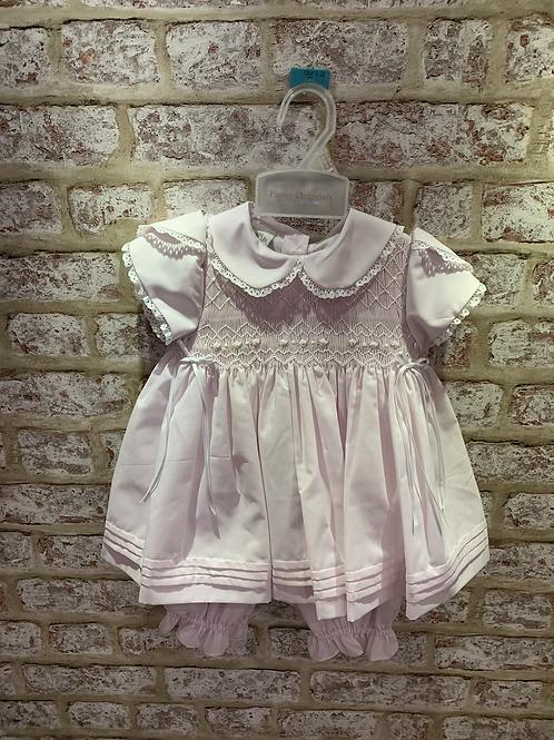 Pink /White  Pretty Originals Smocked Dress & Matching Knickers