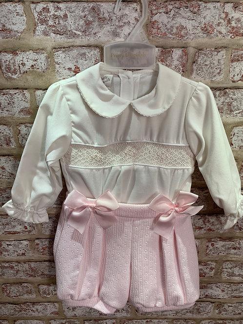 Pretty Originals Pink & Ivory Smoked Blouse & Shorts