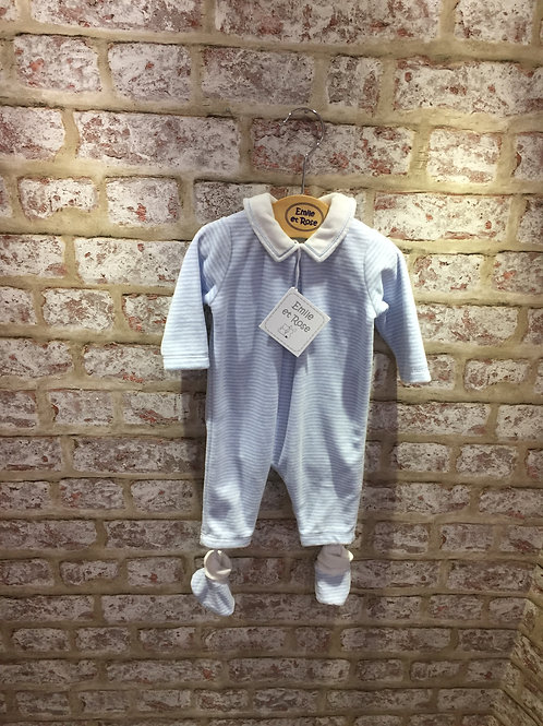 Emile et Rose Baby Blue & White Stripey All In One