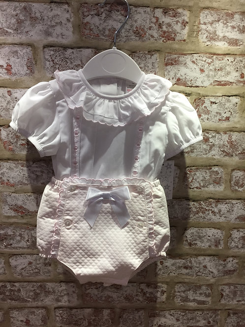 Baby Pink & White Shorties & Blouse