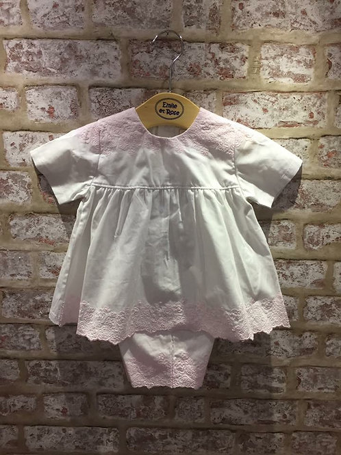 Emile et Rose Two Piece White With Pink Embroidery