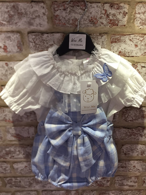Blue/White Big Bow Romper