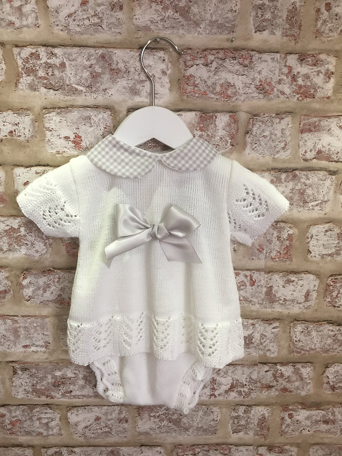 White & Grey Two Piece Knitted Set