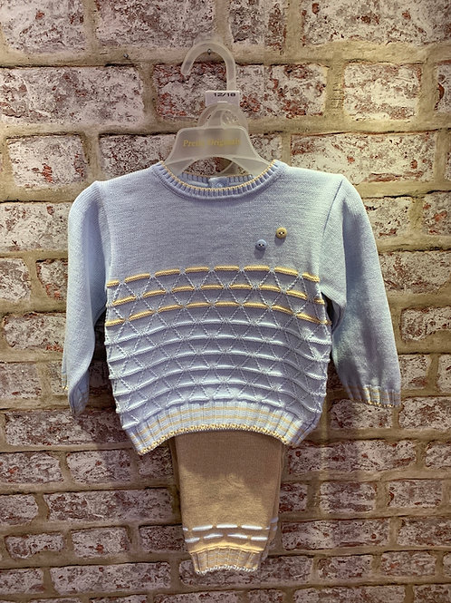 Pretty Originals Blue/Wheat Two Piece Knitted