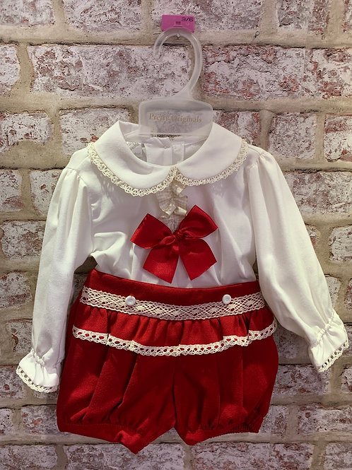 Pretty Originals Cream/Red Two Piece Shorts & Blouse