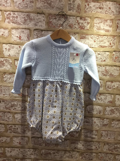 Boys Or Girls Romper In Baby Blue With Camel & Baby Blue Pattern Bottom