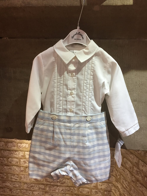 Sarah Louise Ivory and Blue Two Piece Shorts And Shirt