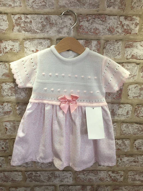 Pink Floral & White Knitted Top Dress