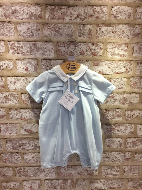 Emile et Rose Baby Blue Romper With Matching Hat