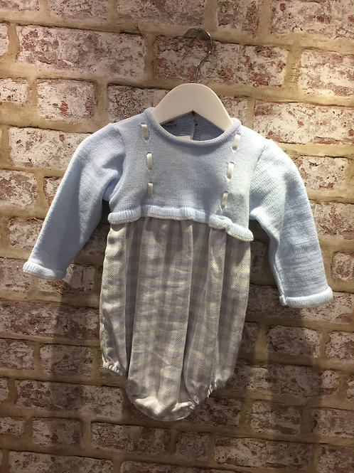 Alber Knitted Top & Checked Bottom in Baby Blue WIth Grey Baby Blue and Ivory