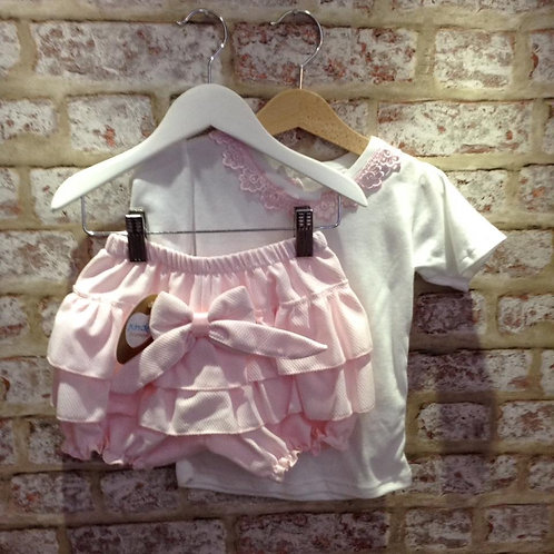 Pink & White Jam Pants Set