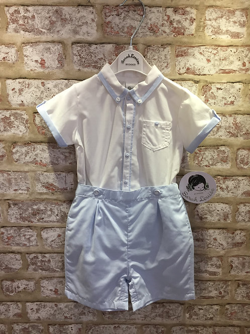 Sarah Louise Baby Blue & White Two Piece Shirt & Shorts Set
