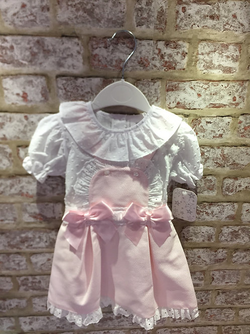 Pink/White Pinafore Two Piece