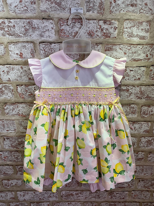Pretty Originals White Pink & Lemon Dress