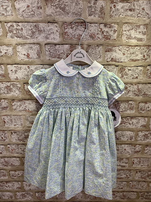 Sarah Louise Ditsy Floral Blue & Green Dress