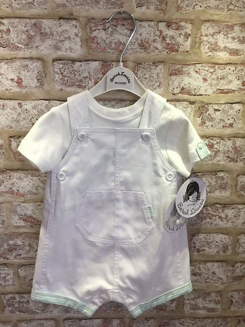 White/Mint Sarah Louise Two Piece Bib Short & T-Shirt Set