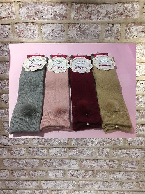 Ysabel Mora 3/4 Faux Fur Pom Pom Socks