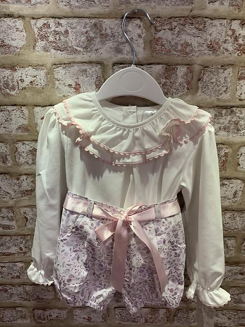 Ivory/Pink Floral Jam Pants & Blouse