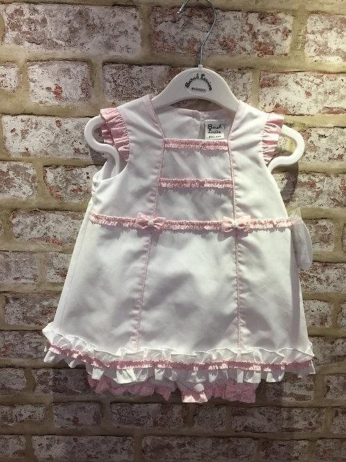 White / Pink Sarah Louise Dress & Panty