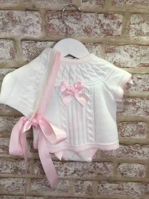 Knitted White & Pink Three Piece Set - Shorts, Top & Bonnet