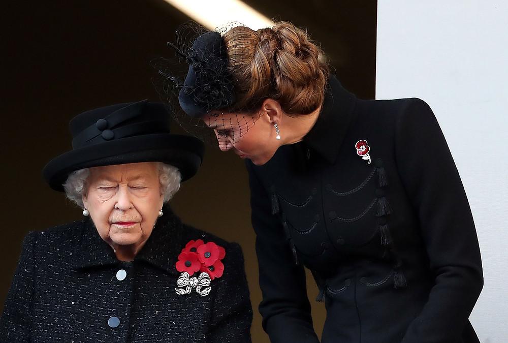 Queen Elizabeth II and the Duchess of Cambridge