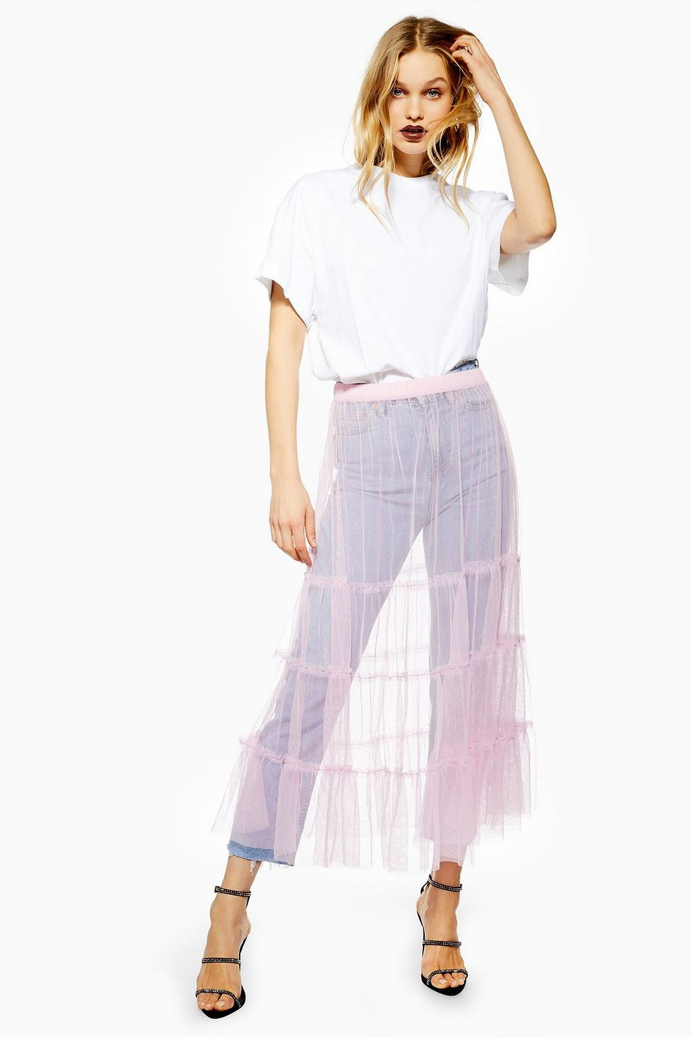 Tiered Tulle Midi Skirt (€7)