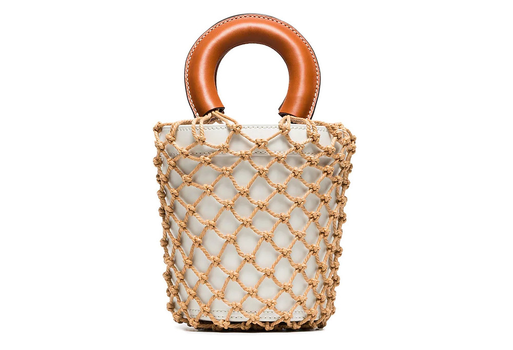 White and brown moreau macrame and leather bucket bag, Staud, Farfetch