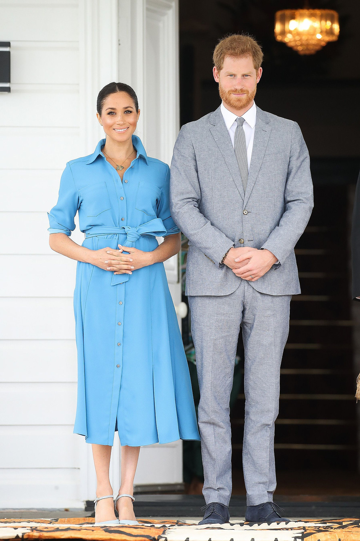 Meghan Markle's blue Veronica Beard button-down midi dress