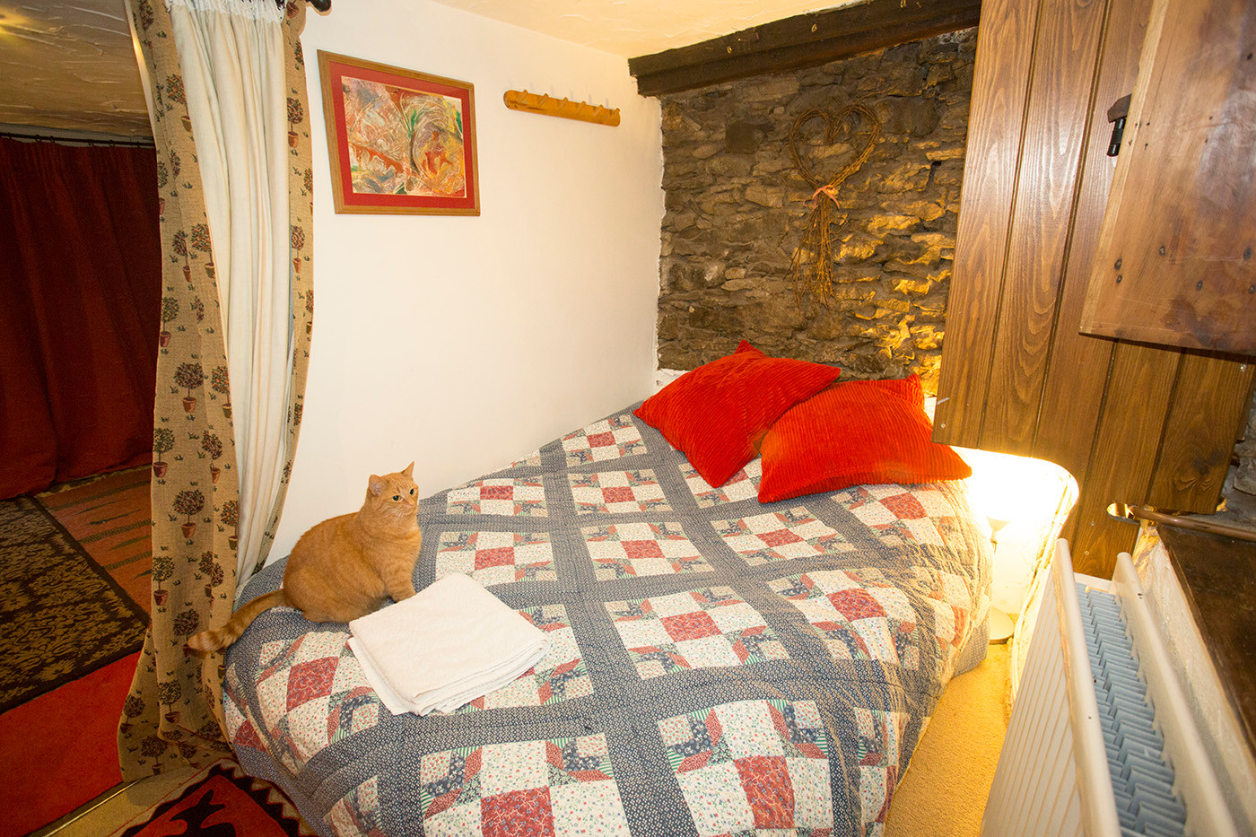 Cosy bedroom with ginger cat