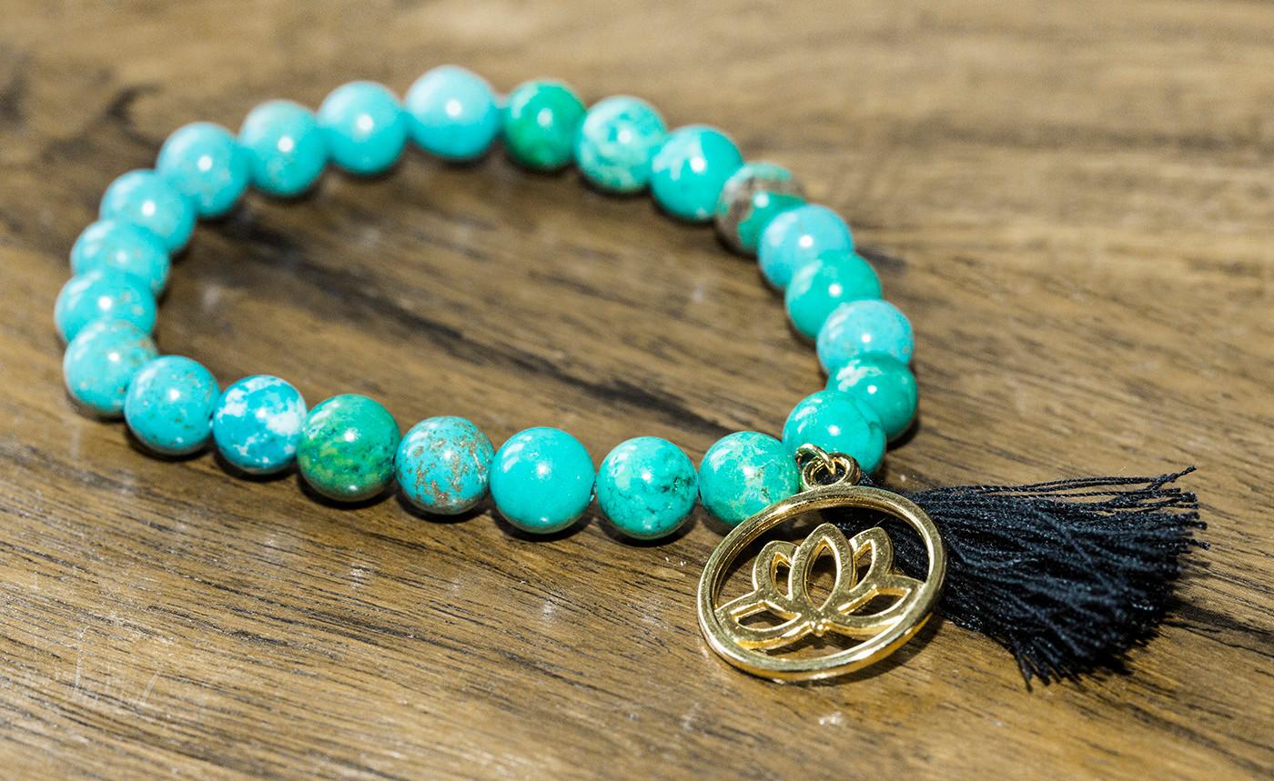 Bracelet with Lotus Flower Charm