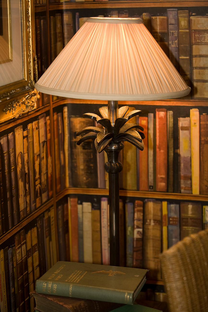 Books and lamp in library