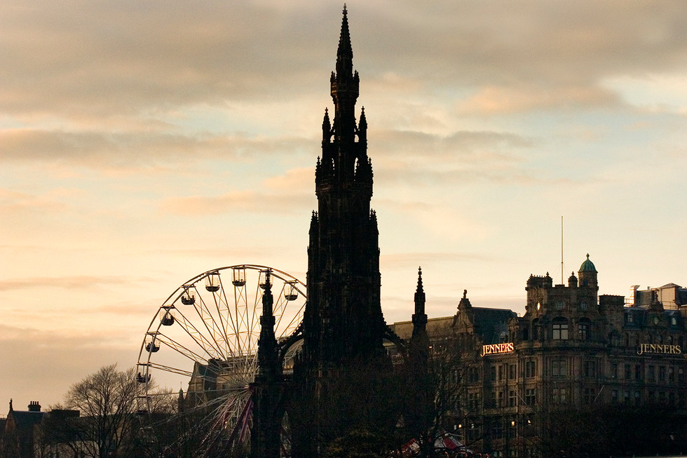 Jenners, Scott Monument and Fairground Edinburgh