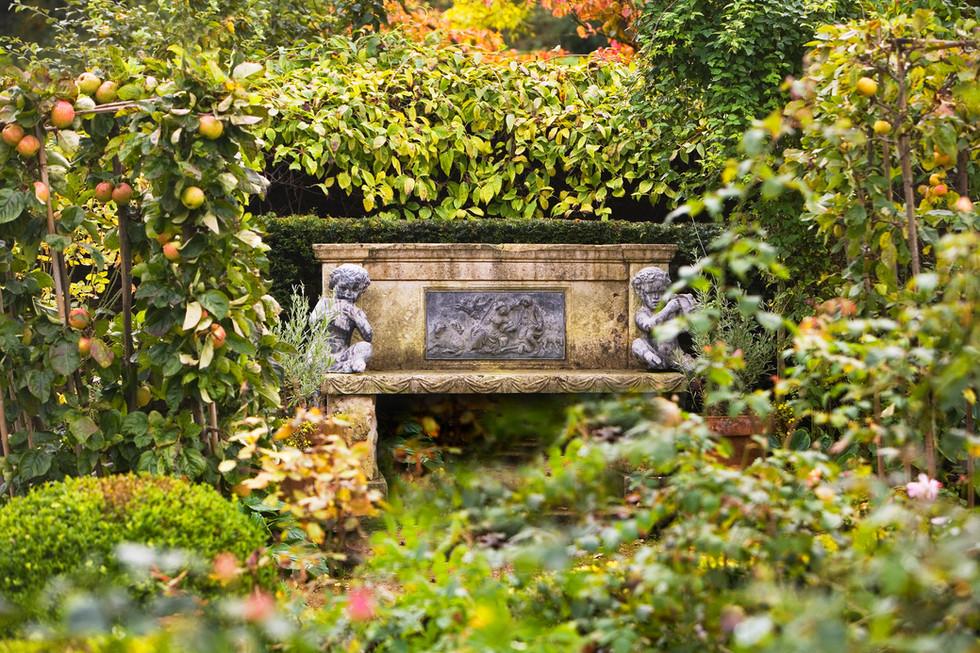 Autumn apples and stone bench Gresgarth hall