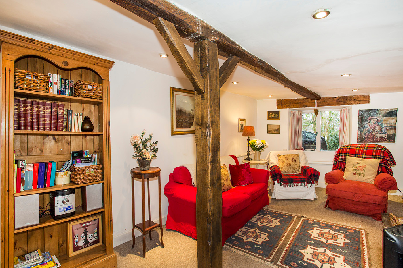 Cottage living room with beams
