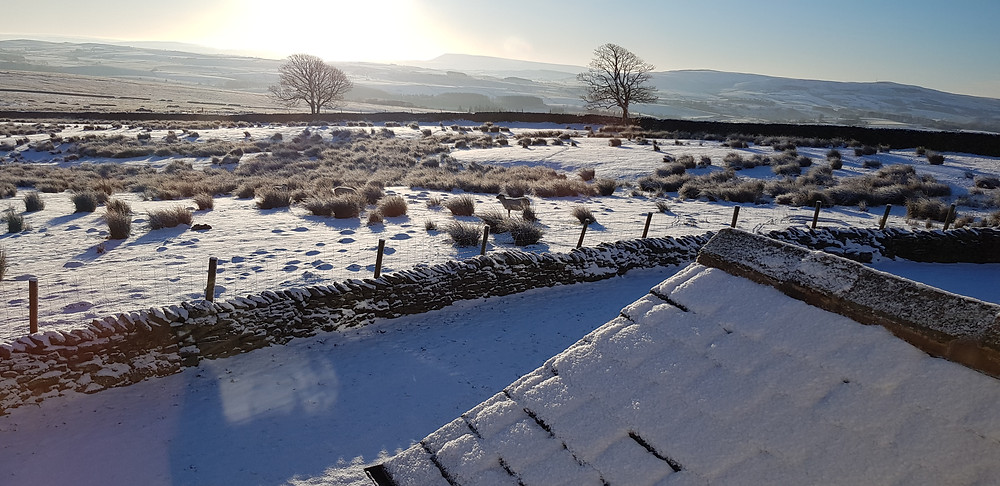 View from Merrybent Hill Luxury B&B to Pendle Hill on a snowy morning