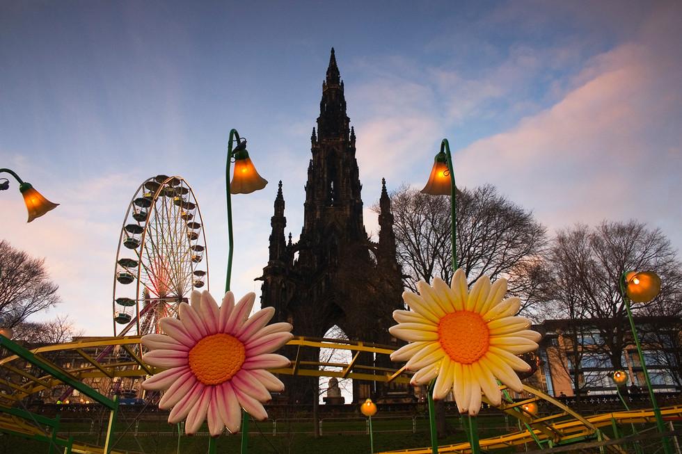 Scott Monument and fairground  Edinburgh