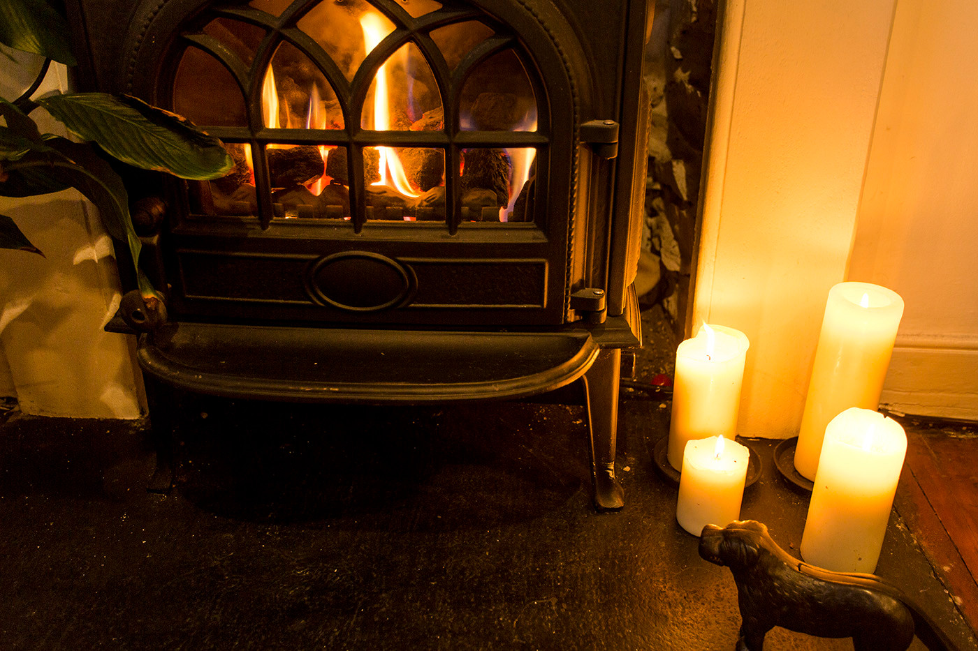 Log burner and candles