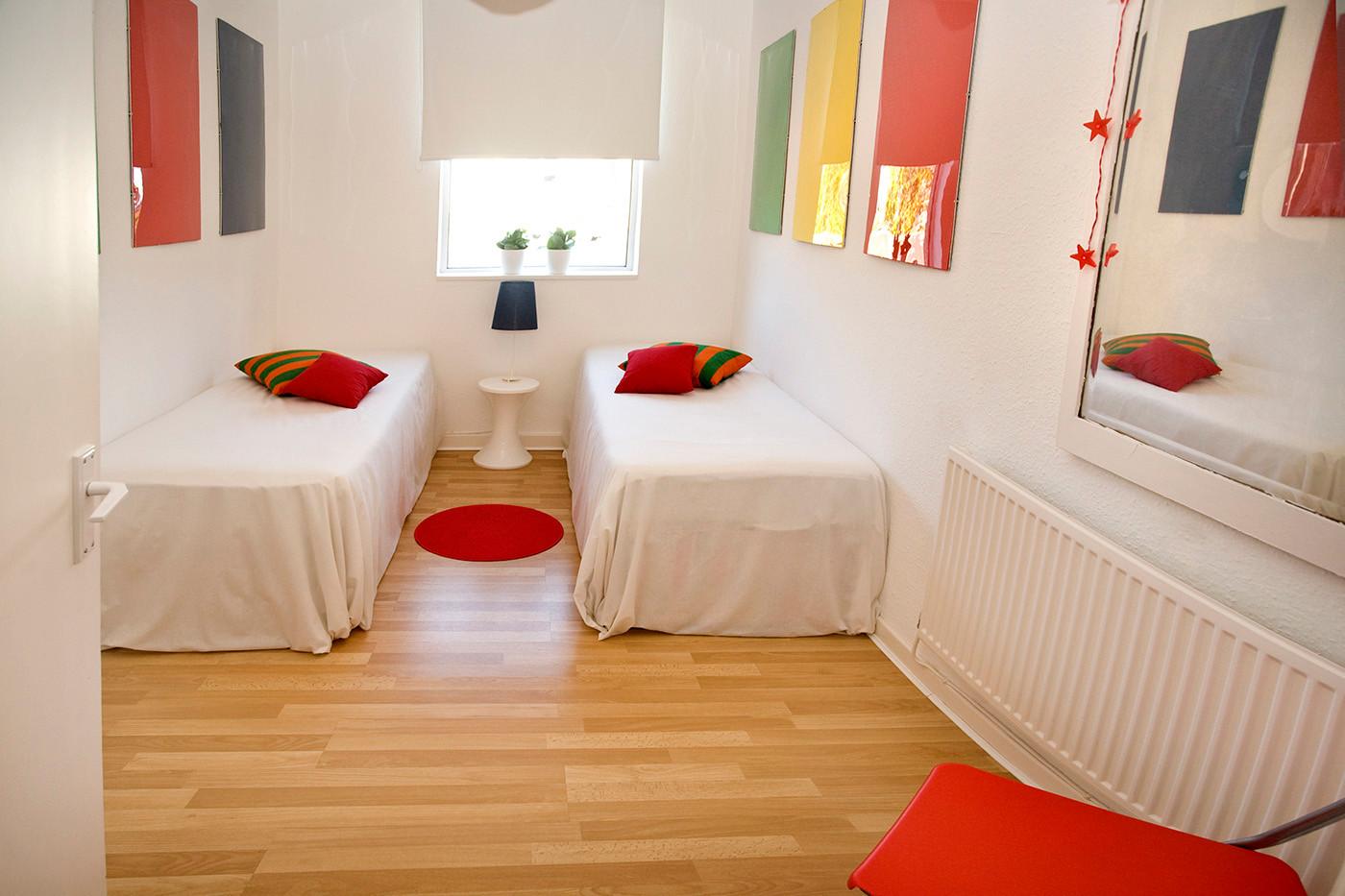 Contemporary bright twin bedroom