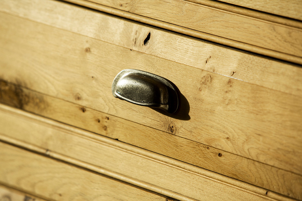 Pewter handle detail, chest of drawers