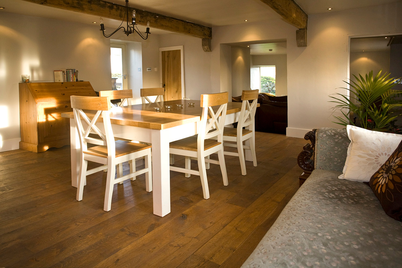 Oak and white dining table