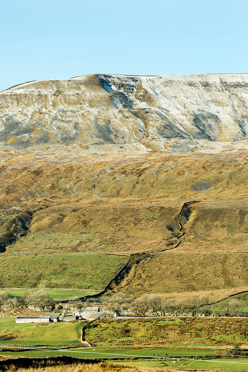 Snow covered Whernside from Ribblehead