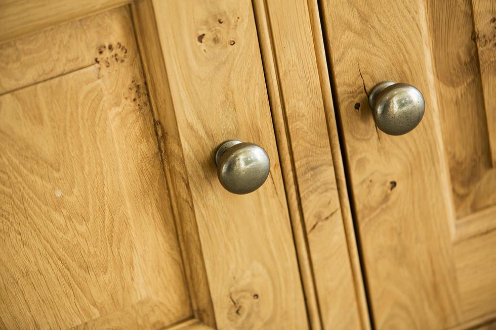 Pewter drawer handles detail