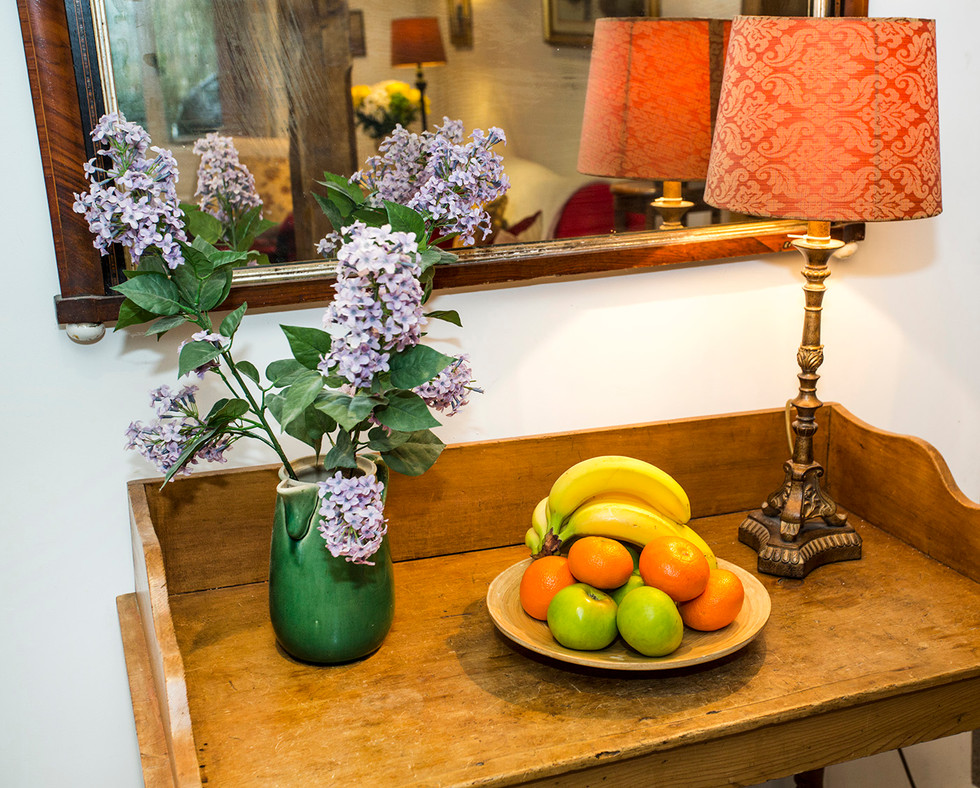 Console table with fruit