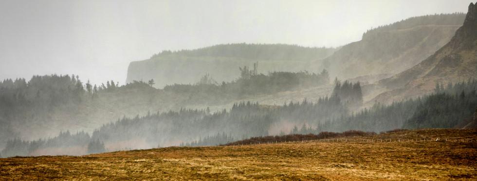 Mist in the cliffs of Beinn an Sguirr