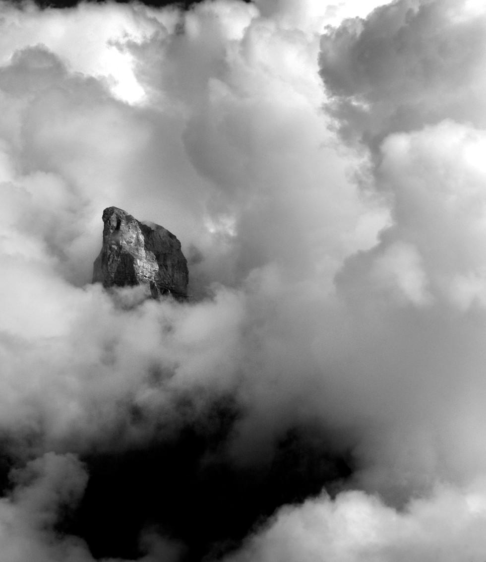 Mountain in cloud, Norway