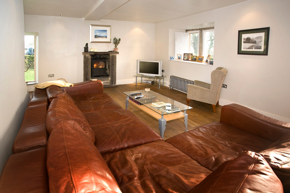 Leather sofa and fire