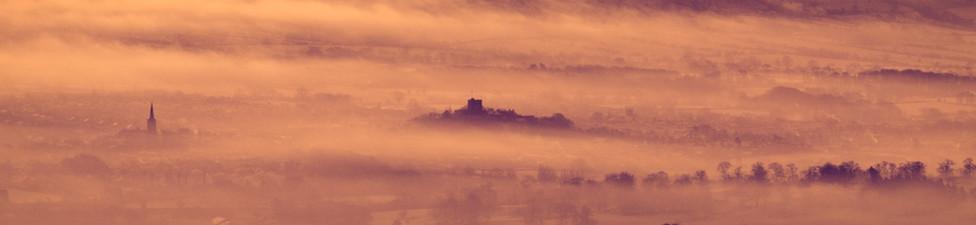 Clitheroe in fog
