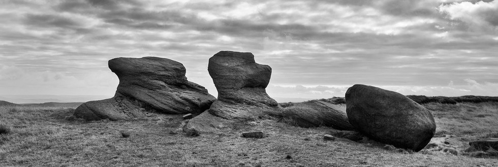 Weathered gritstone rock, Kinder Scout, Dark Peak