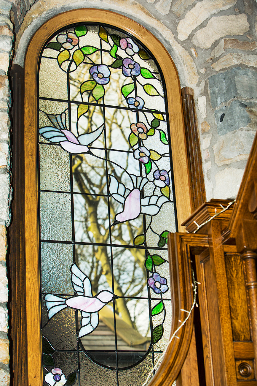 Stained glass staircase window
